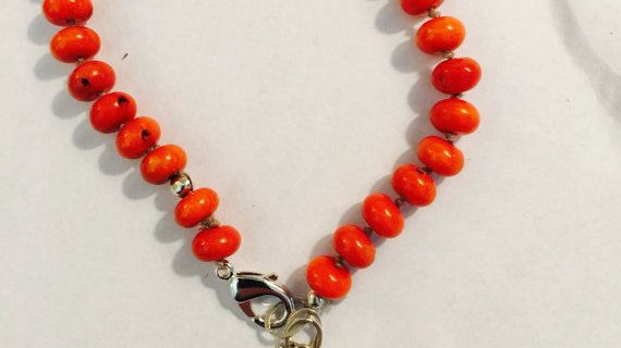 Coral bracelet, hand knotted with leather,,charm,,8 inches