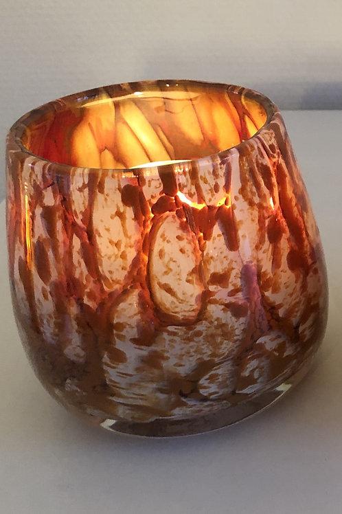 Thick votive glass bowl bark design orange