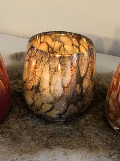 Thick votive glass bowl bark design brown