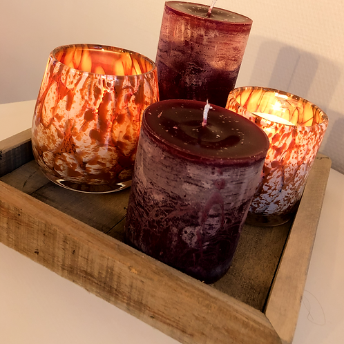 Handmade cylinder candle bordeaux