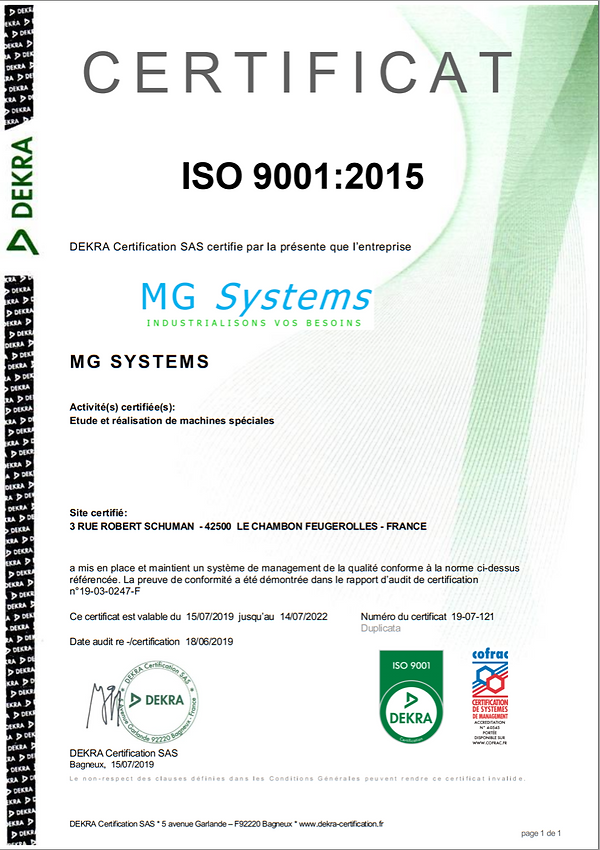certificat iso 9001:2015 MG Systems