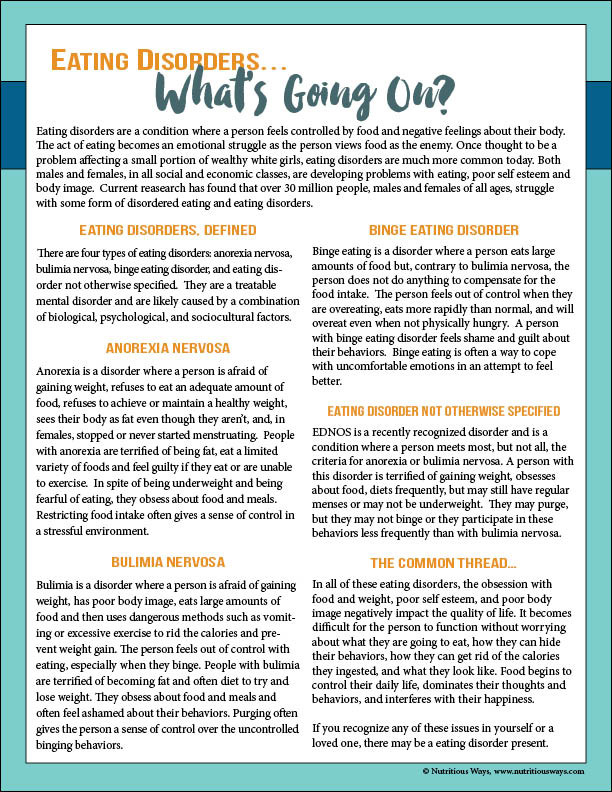Nutritious Ways Eating Disorder Free Handout