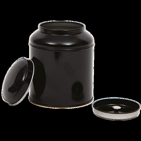 Zwart thee blikje