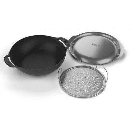 Weber - Wok con coperchio e griglia per cottura a vapore
