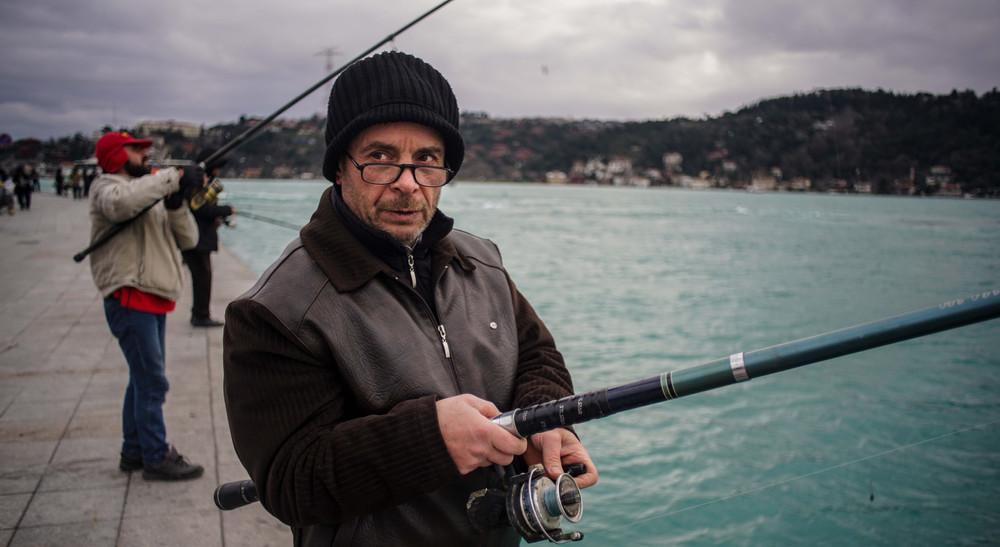 A fisherman near Arnauvtakoy, Istanbul.