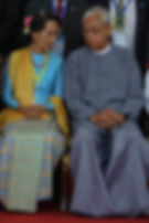 ASSK and ex president Htin Kyaw at the p