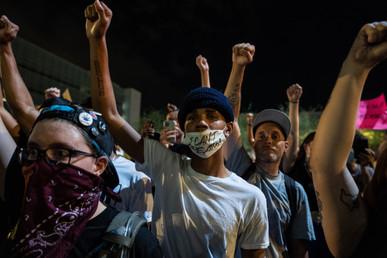 04. Protestors in front of Phoenix PD HQ