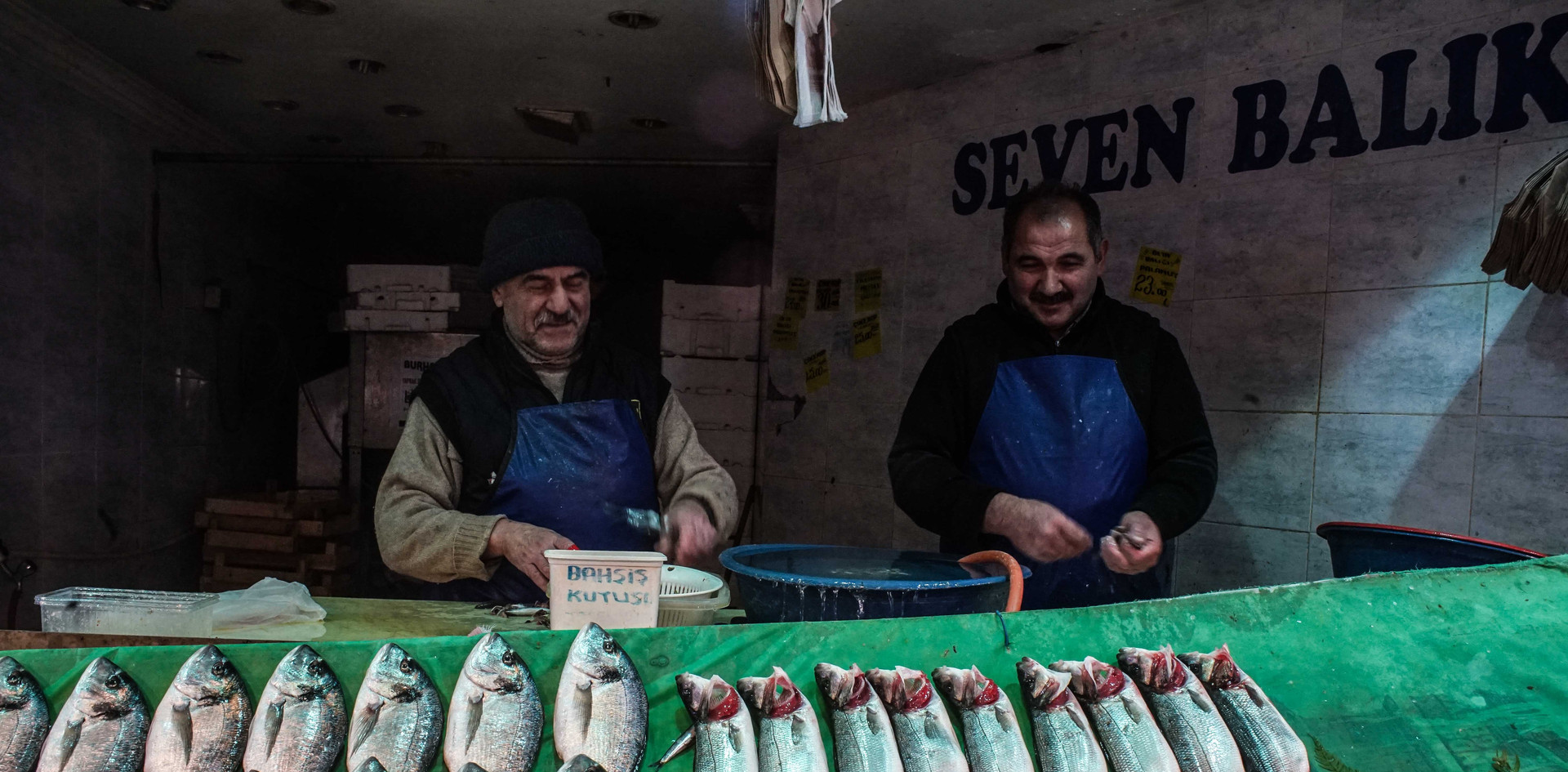 A local fish shop in Ortakoy market, Istanbul.