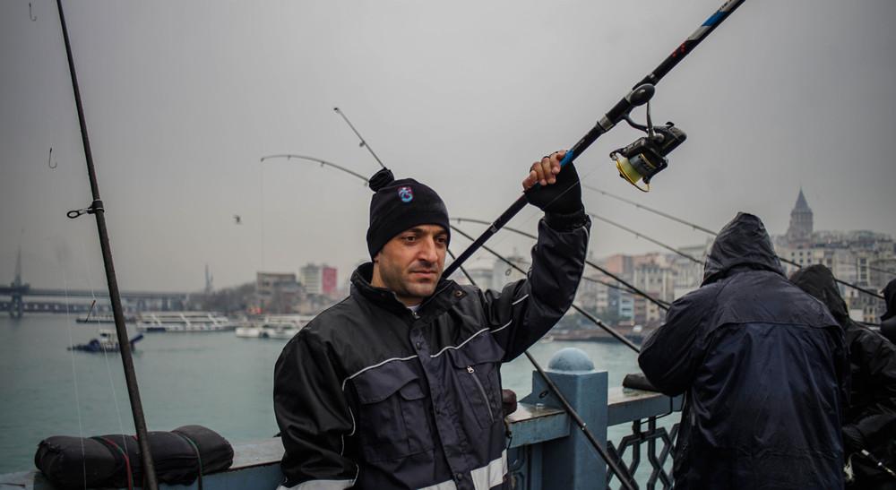 Portrait of a fisherman on Galata Bridge