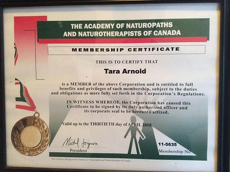 Certificate Tara Arnold