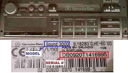 Mercedes Grundig Sound 7000 radio code