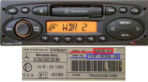 Mercedes Visteon TRUCKLINE CC40/CC60 24v radio code