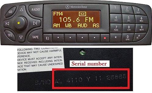 Mercedes Alpine CM1010-CM1011-CM1330 radio code