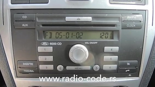 Ford 6000 CDradio code