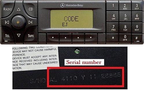 Mercedes Alpine CM1910 / CM2299 radio code