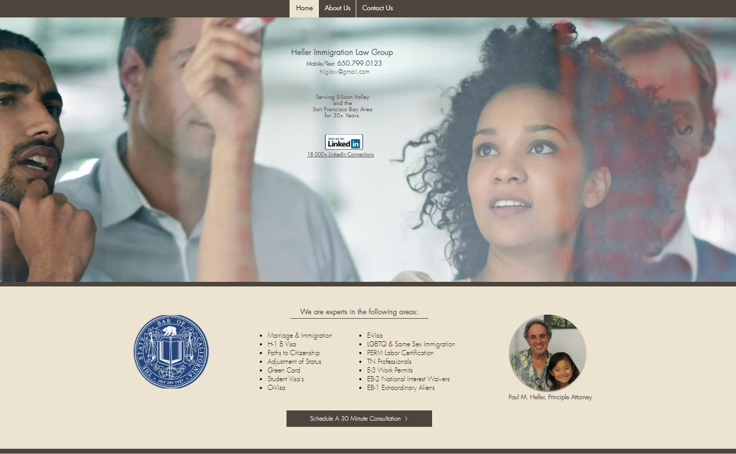 Website screenshot Heller Immigration La