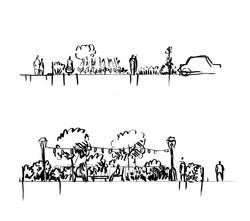 Coupes transversales du jardin