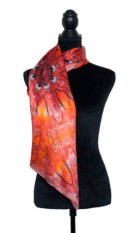 100% Silk Scarf - Rust