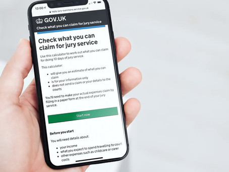 "Now live, ""Check what you can claim for jury service"" on GOV.UK"