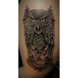 Had a blast making this full custom owl and time piece Tattoo This evening .