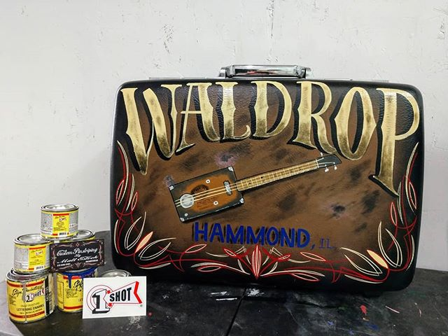 Another happy customer, Cigar Box Guitar Suitcase kick drum All  hand-painted with 1shot lettering e
