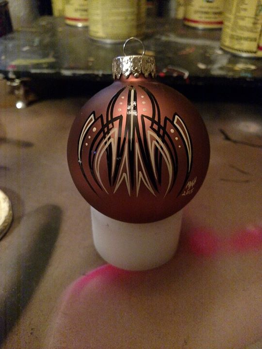 And it begins .. First one . if u are wanting a kustom pinstriped ornament or other hand painted des