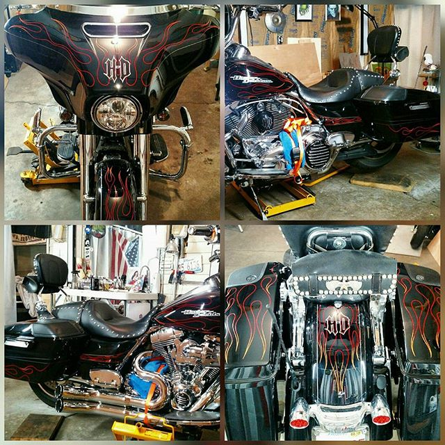 Up and at it in the studio this morning , wrapped up Street glide #2 .. custom hand Pinstriped flame