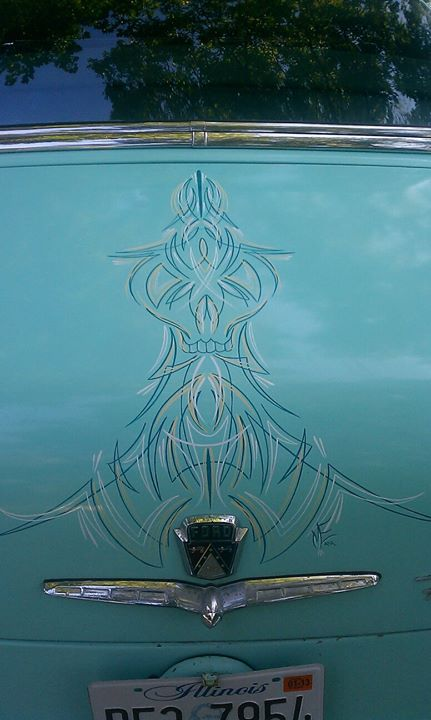 Skull pinstriping on my buddies 54 crestliner