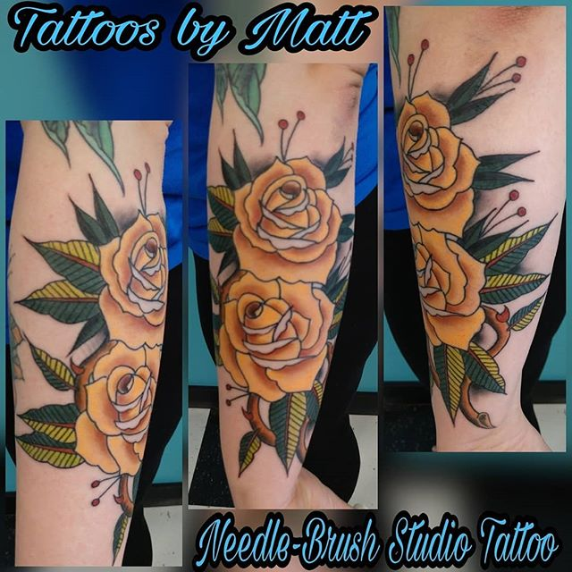 Today's shenanigans , super fun Full Kustom Traditional Roses .. www.needle-brush.com