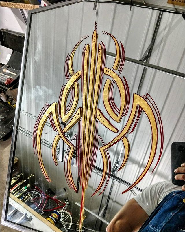 Custom pinstripe Gold Leaf Mirror , Gold