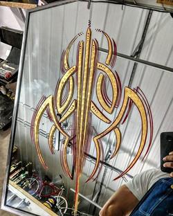 Custom pinstripe Gold Leaf Mirror , Gold