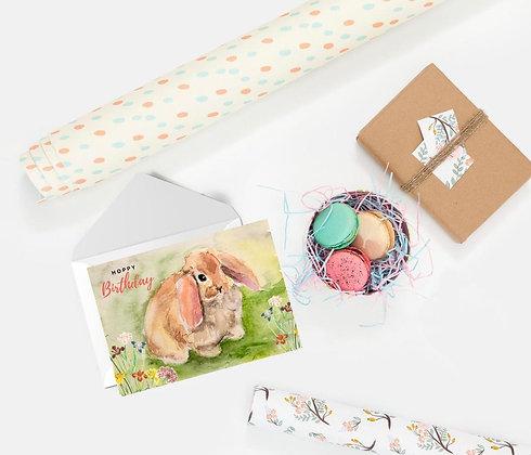 Hoppy Birthday (brown bunny), Card by Liffey Pop Designs