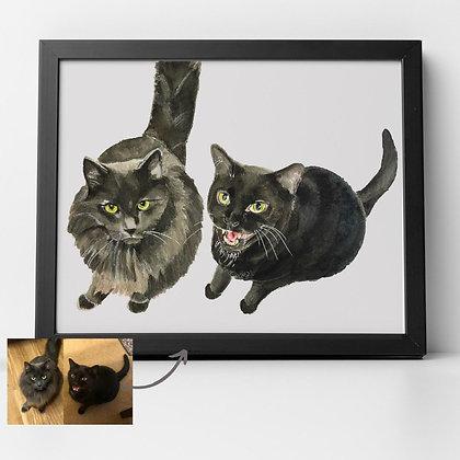 Pet Portrait by Liffey Pop, two pets - email us a photo of your pet