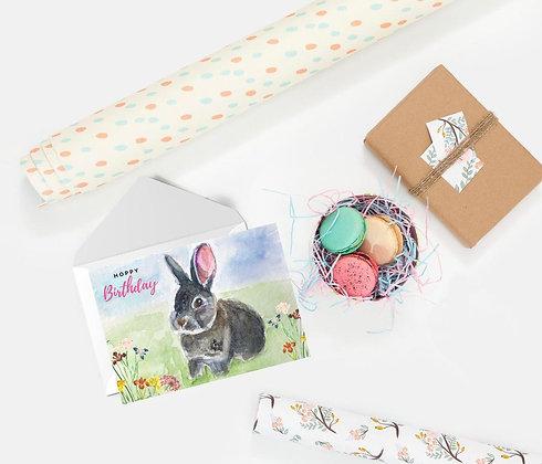 Hoppy Birthday (grey bunny), Card by Liffey Pop Designs