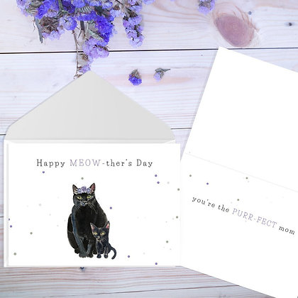 Happy Meow ther's Day, Card by Liffey Pop Designs