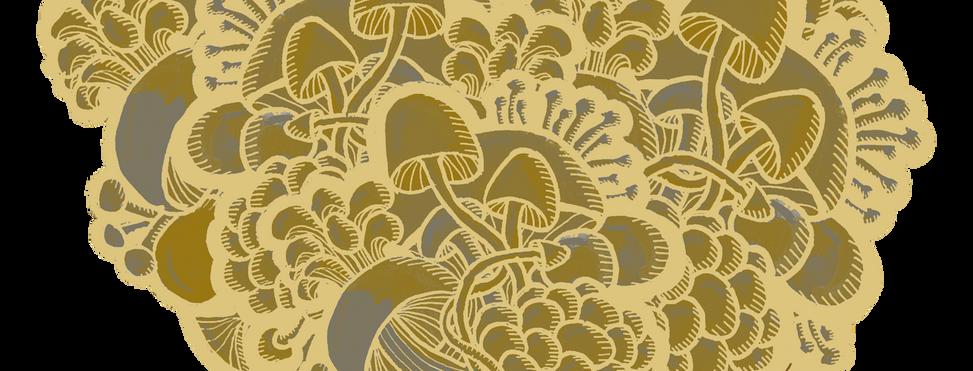 Gold mushroom heart