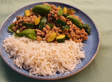 Courgette, Basil and Pork Mince Stir-Fry