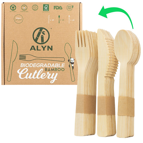Bamboo Cutlery 120 Pack