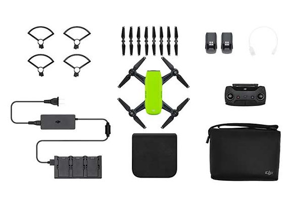 DJI Spark Mini- Meadow Green - Fly More Combo With Remote ; Accessories - Al