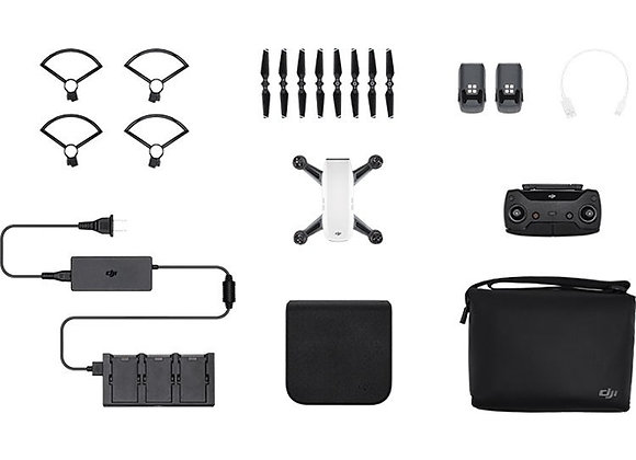 DJI Spark Mini Drone - Fly More Combo With Remote & Accessories - Alpine White