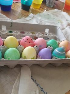 Tiffany colored Easter eggs