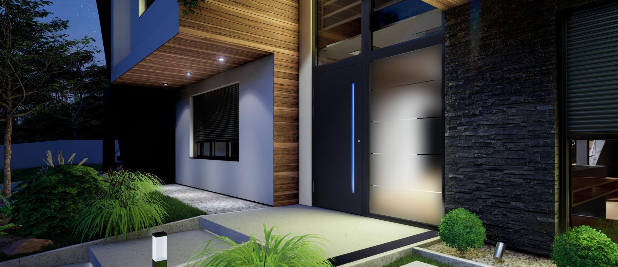 Porte d'entrée villa en aluminium