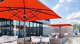 Parasol professionnel télescopique de culeur rouge et armature grise