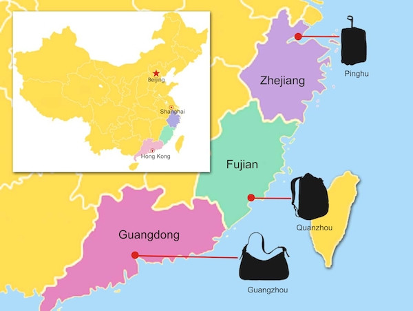 map of bag manufacturer in China