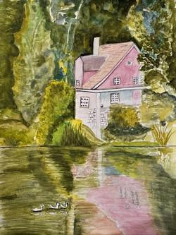 Watercolor pink cabin