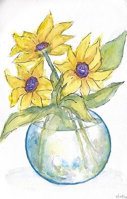 Watercolor yellow flowers in vase