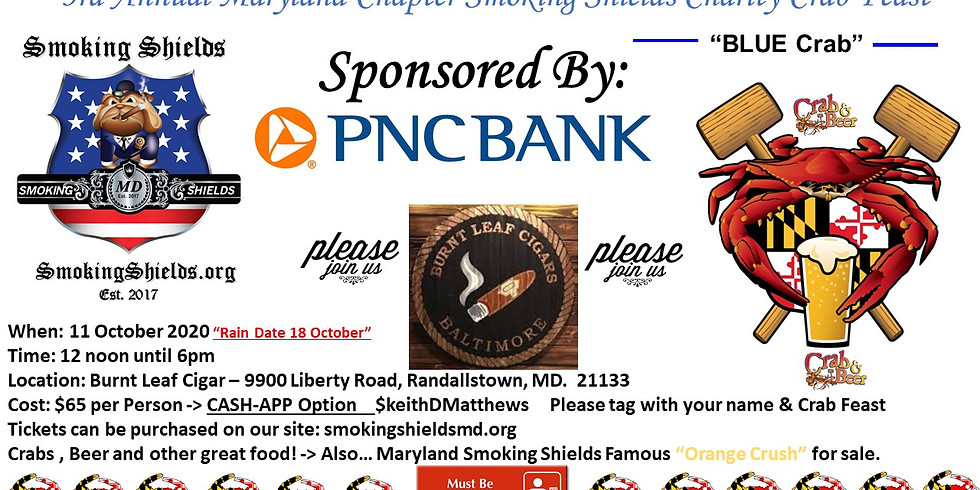 3rd Annual Maryland Chapter Smoking Shields Charity Crab Feast