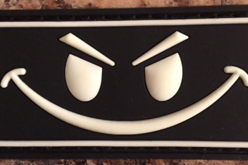 Evil Smiley Glow in the Dark PVC w/ velcro