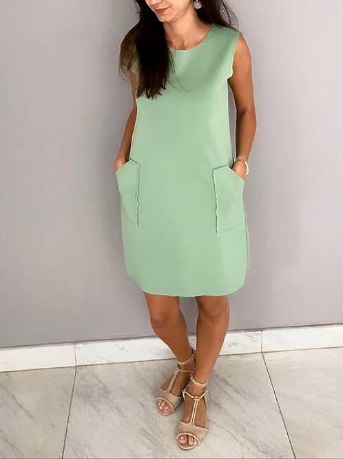 Vestido básico atemporal Verde Água