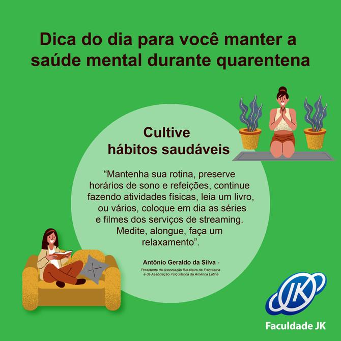 🙌☀️🤔🤓🤩💚 #dicadodia #saúdemental #quarentena #hábitos #faculdadejk